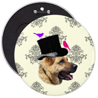 Funny German shepherd dog 6 Cm Round Badge