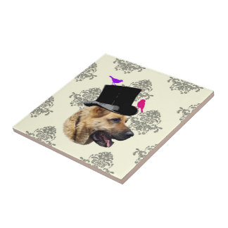Funny German shepherd dog Small Square Tile