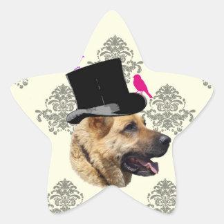 Funny German shepherd dog Star Sticker