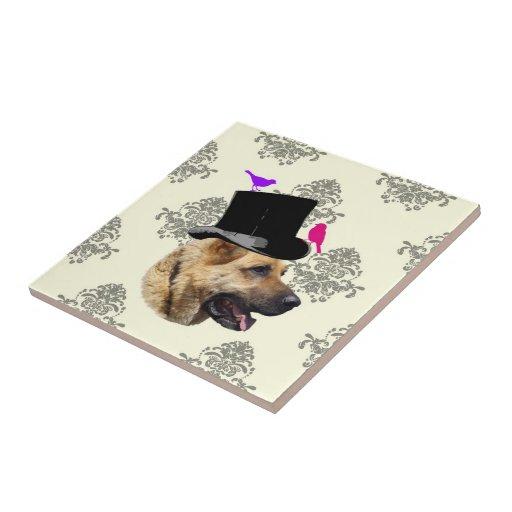 Funny German shepherd dog Tile