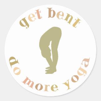 Funny Get Bent Do More Yoga Round Sticker