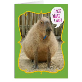 Funny Giant Cake-Eating Guinea Pig Birthday Greeting Card