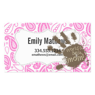 Funny Gift for Mum; Pink Paisley Pack Of Standard Business Cards