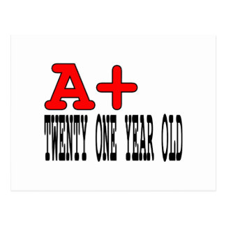 Funny Gifts for 21st Birthdays : A+ Twenty One Postcard