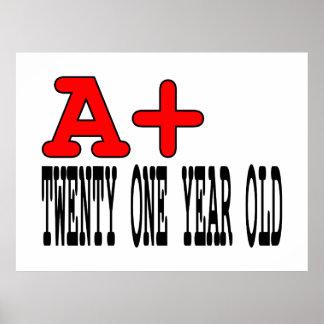 Funny Gifts for 21st Birthdays : A+ Twenty One Print