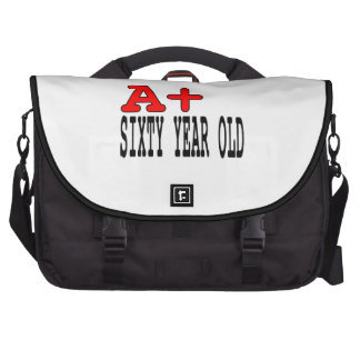 Funny Gifts for 60th Birthdays A+ Sixty Year Old Laptop Commuter Bag