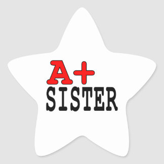 Funny Gifts for Sisters : A+ Sister Star Sticker