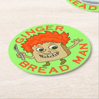 Funny Ginger Bread Man Christmas Pun Round Paper Coaster
