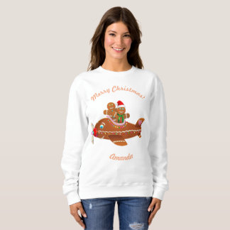 Funny Gingerbread Airplane Xmas Cartoon Sweatshirt