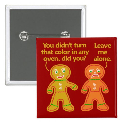 Funny Gingerbread Fake Tan Christmas Buttons