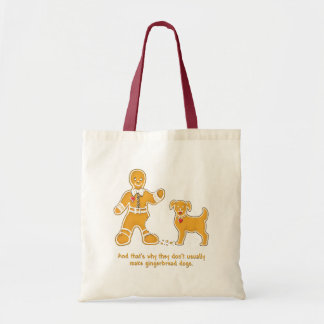 Funny Gingerbread Man and Dog for Christmas Budget Tote Bag