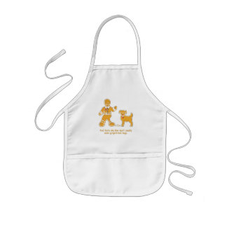 Funny Gingerbread Man and Dog for Christmas Kids Apron