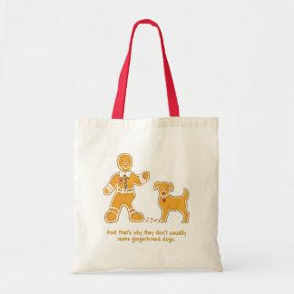 Funny Gingerbread Man and Dog for Christmas Budget Tote Bag