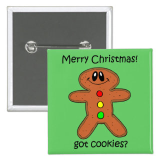 Funny gingerbread man Christmas Pinback Button