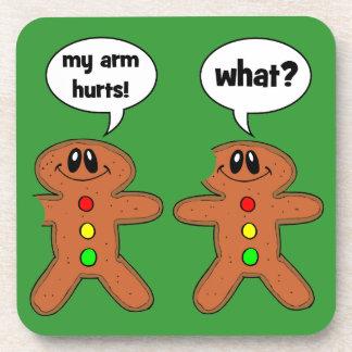 funny gingerbread man beverage coaster
