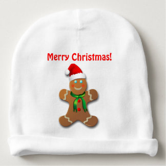 Funny Gingerbread Man With Christmas Hat Baby Beanie