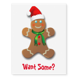 Funny Gingerbread Man with Santa Hat