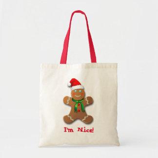 Funny Gingerbread Man With Santa Hat Budget Tote Bag