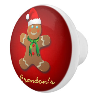 Funny Gingerbread Man with Santa Hat Ceramic Knob