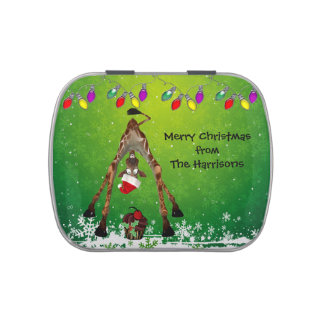 Funny Giraffe and Cupcake Christmas Party Favor Jelly Belly Tins