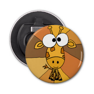 Funny Giraffe Art Button Bottle Opener