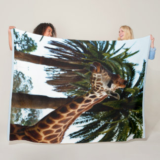 Funny Giraffe Blowing A Raspberry, Large Fleece Blanket