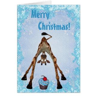 Funny Giraffe Blue Cupcake Christmas Card