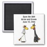 Funny Giraffe Bride and Groom Wedding Art Square Magnet
