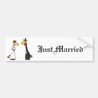 Funny Giraffe Bride and Groom Wedding Cartoon Bumper Sticker