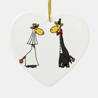 Funny Giraffe Bride and Groom Wedding Cartoon Christmas Ornament
