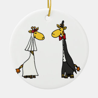 Funny Giraffe Bride and Groom Wedding Cartoon Round Ceramic Decoration