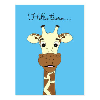 Funny giraffe cartoon blue Hello kids postcard