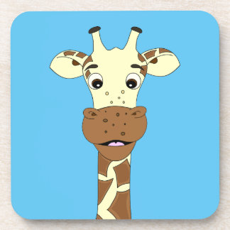 Funny giraffe cartoon blue kids coaster