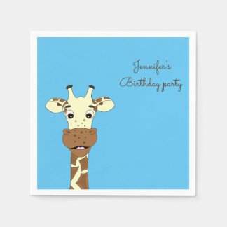 Funny giraffe cartoon blue kids name birthday disposable napkin