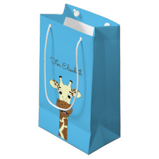 Funny giraffe cartoon blue kids name small gift bag