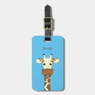 Funny giraffe cartoon blue luggage tag