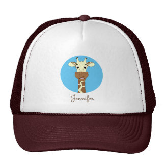 Funny giraffe cartoon blue name hat
