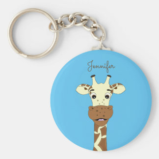 Funny giraffe cartoon blue name keychain