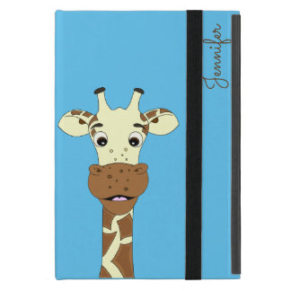 Funny giraffe cartoon blue name kids ipad case