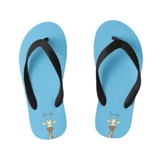 Funny giraffe cartoon blue name kids slippers flip flops
