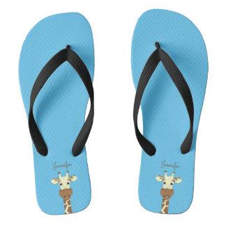Funny giraffe cartoon blue name women's slippers flip flops