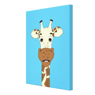 Funny giraffe cartoon kids canvas print