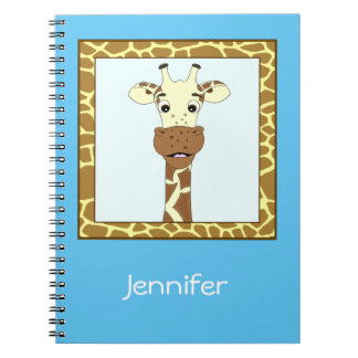 Funny giraffe cartoon kids notebook