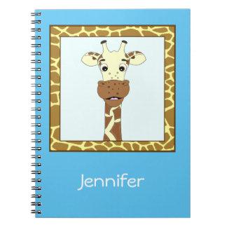 Funny giraffe cartoon kids spiral note books