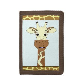Funny giraffe cartoon kids tri-fold wallets