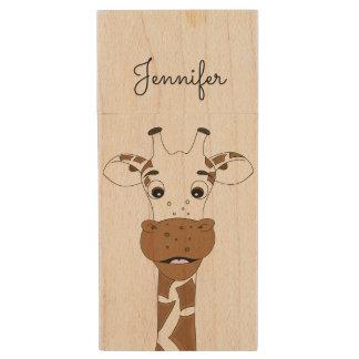 Funny giraffe cartoon kids wood USB flash drive