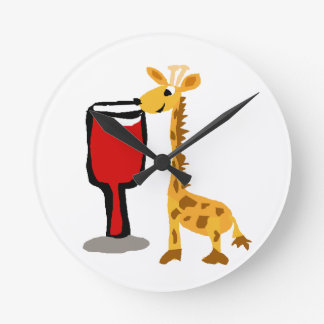 Funny Giraffe drinking Red wine Cartoon Round Clock