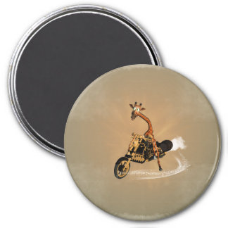 Funny giraffe drives a motorbike 7.5 cm round magnet