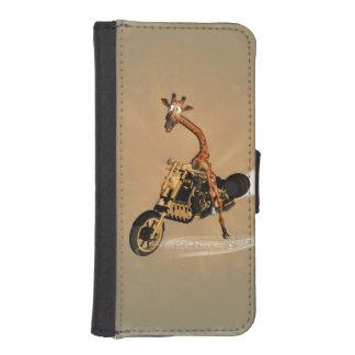 Funny giraffe drives a motorcycle