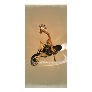 Funny giraffe drives a motorcycle customised photo card